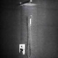 8'' Chrome Rain Shower Combo Kits Set Wall Mount Shower Head System Mixer Faucet