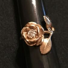 James Avery Retired 14k Gold Rose With .15 Diamond Ring Size 4