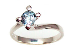 Lady's ring solitaire white gold 18 kt. with aquamarine natural