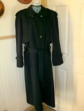 Vintage London Fog Women's Trench Coat Size 10 Petite Black 100% Wool