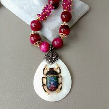 """24"""" Fuchsia Tiger Eye Agate Necklace White Shell Cz insect Pendant"""