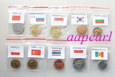Lots 10 countries Coins money Collections World real Coins money with logo flags