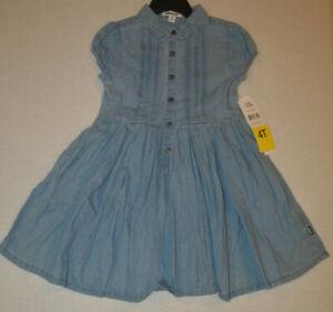 Girl's DKNY Light Wash Short Sleeve Pullon Flare Denim Dress Size 6