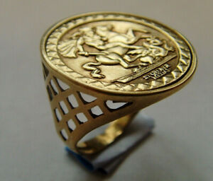 9ct Gold St George & Dragon Coin Medal Ring UK Size N Hallmarked