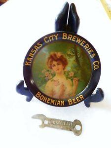 Old Vintage Antique Advertising BOHEMIAM BEER Tin Tip Tray KANSAS CITY BREWERIES