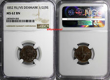 Denmark Frederik VII Copper 1852 FK//VS 1/2 Rigsbankskilling NGC MS62 BN KM# 753