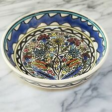 Vintage HAND-PAINTED Pottery Bowl Hand Painted Mexican Italian Greek BLUE White