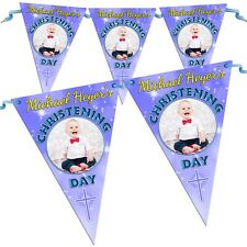 Personalised Boys Blue Christening Baptism Flag Banner Bunting N38 - 10 Flags