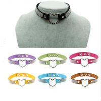 Fashion Girls PU Leather Rhinestone Punk Goth Heart Ring Collar Choker Necklace