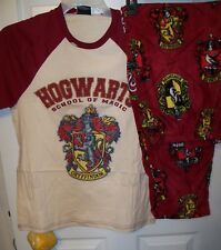 Harry Potter Hogwarts Pajama Pants Lounge PJ 2 Piece Set Mens Size Large NWT
