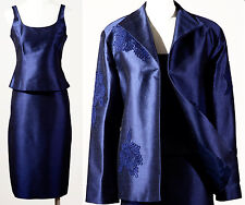 NWT $695 LINDA ALLARD ELLEN TRACY SILK SHANTUNG TOP, SKIRT & JACKET NAVY BLUE