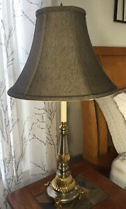 Frederick Cooper Silver Brass Candlestick Lamp, 3-way Switch, Hollywood Regency