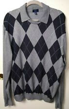 LINCS  DC CO XXL MENS COLLARED SWEATER ARGYLE DIAMOND GRAY NAVY ELBOW PATCHES