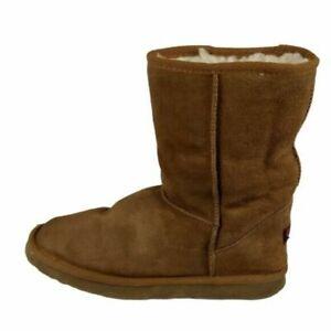 Ukala by EMU Sydney Low Winter Boots Womens Size 8 Tan Suede Merino Wool Lined