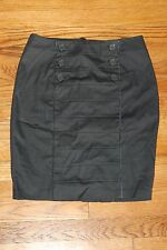 H&M HM WOMENS GRAY BUTTON FRONT PENCIL SKIRT BUSINESS SIZE 6