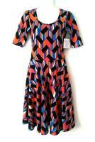 NEW WOMEN'S LULAROE NICOLE SHORT SLEEVE FIT & FLARE STRETCHY DRESS SIZE XS