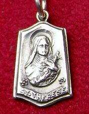 Vintage Sterling Silver St Therese Little Flower Catholic Pilgrimage RELIC Medal