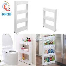 Slide Out Kitchen Bathroom Storage 4 Tiers Wheel Trolley Basket Slim Unit New