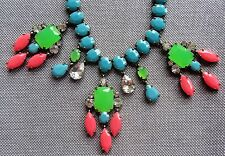 """J CREW NECKLACE TURQUOISE NEON GREEN PINK CLEAR DROPS NEW 26"""" LONG STATEMENT"""
