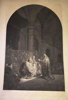 J.P DE FREY (1770-1834) GRANDE GRAVURE SIMON TEMPLE SAINTE FAMILLE REMBRANDT
