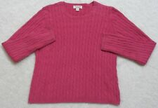 No Boundaries Long Sleeve Classic Cable Sweater Top Woman's Women's Crewneck Red