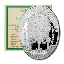 Niue Imperial Faberge Egg Lily of the Valley $2 2010 Proof Silver Crown COA