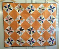 """LOVELY LE MOYNE STAR QUILT WITH CHEDDAR BLOCKS 69"""" x 56"""""""