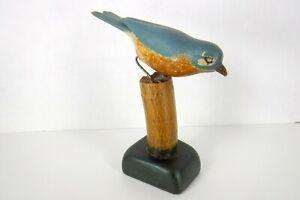 Antique Wood Carved Blue Bird Primitive Folk Art Old Paint Dated Signed Figure