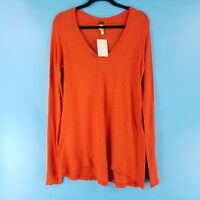 Free People Womens Long Sleeve Shirt Top V-Neck Coral Red sizes XS, S, L NEW