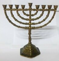 Brass Judaica Menorah Israel Vintage Hanukkah Candle Jewish Holder Jerusalem