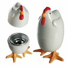 2x CHICKEN MICROWAVE EGG COOKER Plastic Poacher Hard Soft Boil Steamer Utensil