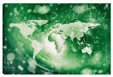 Quadro moderno PLANISFERO terra mappamondo continenti verde 60X100 antico old