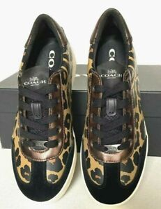 New Coach FG3152 Women Leather Suede Sneakers Shoes Size 5.5 B Leopard Print