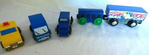 5 Train & street cars for use with Brio or Thomas & Friends Wood Track
