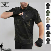Mens Combat T-Shirt Army Tactical Military Summer Short Sleeve Camo Casual Shirt