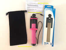 """PINK Selfie Stick JJC SS-80 Apt to iPhone Android w/ Cable 7-31.5"""" 4 4s 5 5s 6 +"""