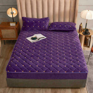 Velvet Fitted Bed Sheet Queen King Size Mattress Cover Luxury Bedding Bed Linen
