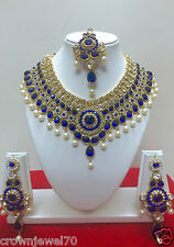 Indian Designer Bollywood Gold Plated Blue Fashion Bridal Jewelry Necklace Set