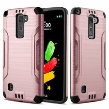 LG Stylo 2 / Stylus 2 Case, Metal Texture Dual Layer Shockproof Bumper Case