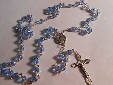 6mm Aqua faceted crystal bead- Our Lady Center - Sterling Silver Rosary