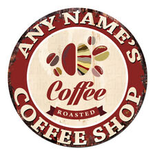 CP-0090 ANY NAME'S COFFEE SHOP Custom Personalized Chic Tin Sign Decor Gift Idea