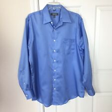 Keneth Cole Collection Blue Shirt Long Sleeves Collar Neck Blue Shirt Size L n53