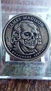 GREAT JAMES MADISON ONE DOLLAR HOBO NICKEL HAND CARVED SKELETON W/ CRACKED SKULL