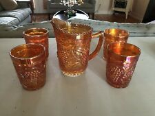 Vintage Orange Carnival Glass Pitcher and 4 Tumbler Glasses