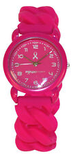 Hot Pink Ribbon Expandable Rubber Strap Watch