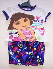 Dora The Explorer Girls White Purple Printed Pyjama Set Size 2 New