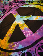 "Tie Dye PEACE SIGN 100% Cotton HIPPIE Tapestry Bedspread Throw HUGE 72"" x 108"""