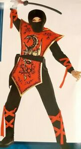 Boys Hood Ninja Martial Arts Warrior Assassin Costume Halloween Dress Lg 12-14