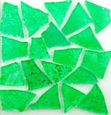 100 GRASS GREEN Colored glass pieces  with glitter by Makena Tile