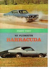 1967 PLYMOUTH BARRACUDA 383 ~ ORIGINAL 8-PAGE ROAD TEST / ARTICLE / AD